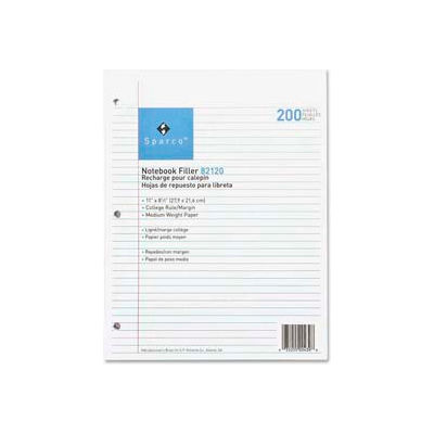 """Sparco™ Notebook Filler Paper, 8-1/2"""" x 11"""", College Ruled, White, 200 Sheets/Pack"""