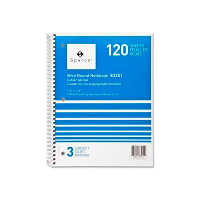 """Sparco™ 3-Subject Notebook, 8"""" x 10-1/2"""", Wide Ruled, Bright White, 120 Sheets/Pad"""