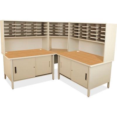 "Marvel® 50 Slot Mailroom Organizer with Cabinet, Riser, 68""H x 78""W, Putty"
