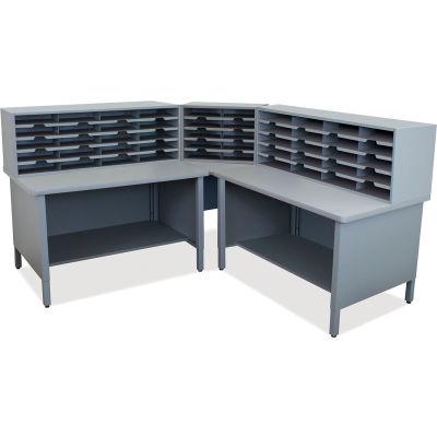 "Marvel® 50 Slot Mailroom Organizer, 2 Storage Shelves, 52""H x 78""W, Slate Gray"