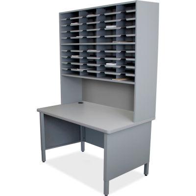 "Marvel® 40 Slot Mailroom Organizer, Riser, 84""H x 48""W, Slate Gray"