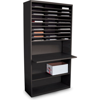 """Marvel® 30 Compartment Mail  Sorter with Adjustable Work Surface, 80""""H x 42""""W, Black"""