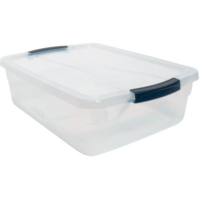 United Solutions Cleverstore Clear Latching Storage Tote w/Lid 16 Quart 16-7/8 x 13-3/8 x 5-1/2 - Pkg Qty 8
