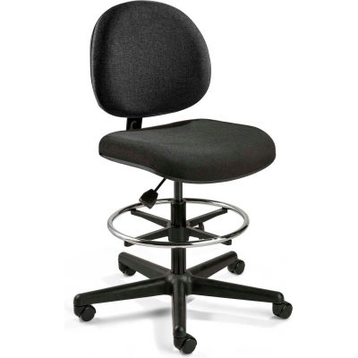 Bevco Fabric Office Stool - Mid-Height with Casters and Footring - Black - Lexington Series