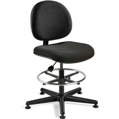 Bevco Fabric Office Stool - Mid-Height with Glides and Footring - Black - Lexington Series