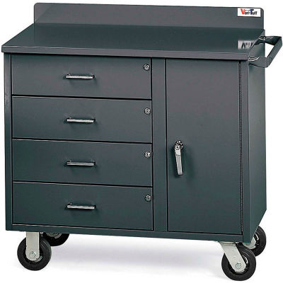 Vari-Tuff F81835A6 Mobile Utility Cabinet with 4 Drawers & 1 Door - 36'' W x 21''D x 34''H