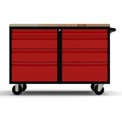 """Valleycraft® Collectors Edition Garage 48"""" Work Bench Cab w/top - 2 sets of 4 Drawers, BK/Red"""