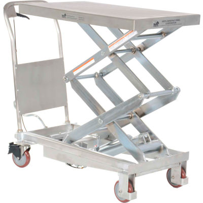Stainless Steel Mobile Scissor Lift Table CART-800-D-PSS 800 Lb. Capacity