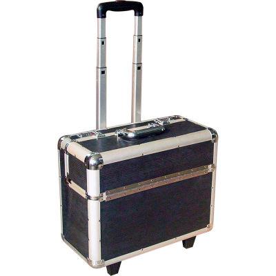 """CASE-SH Aluminum Pilot Case With Trolley Handle,  20""""L x 10""""W x 15""""H, Black/Silver"""