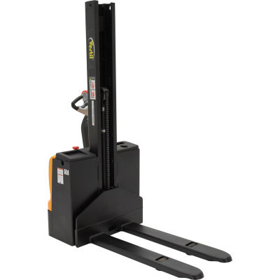 Fully Powered Narrow Mast Stacker SNM-62-FF-21 w/ Fixed Forks and Straddle Legs - 2200 Lb. Capacity