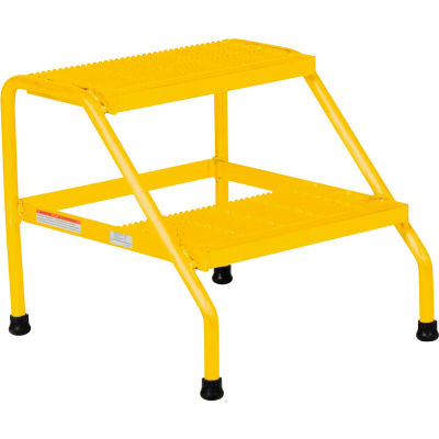 Aluminum Yellow Wide Step Stand - 2 Step Welded - SSA-2W-Y