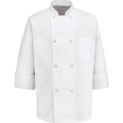 Chef Designs 8 Button-Front Chef Coat, Pearl Buttons, White, Polyester/Cotton, S
