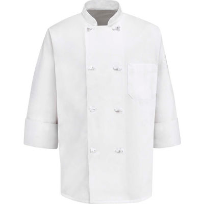 Chef Designs 8 Button-Front Chef Coat, Cloth Buttons, White, Polyester/Cotton, L