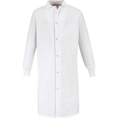 Red Kap® Gripper-Front Butcher Coat W/Knit Cuffs, Pocket-less, Spun Polyester, White, L