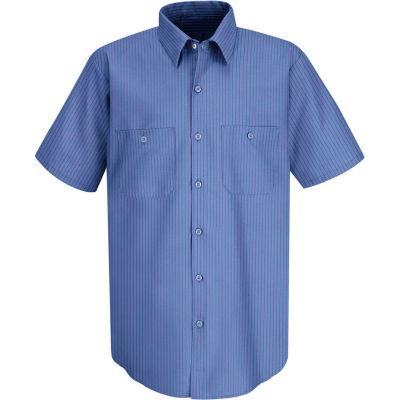 Red Kap® Men's Industrial Stripe Work Shirt Short Sleeve Petrol Blue/Navy Stripe Long-XL SB22