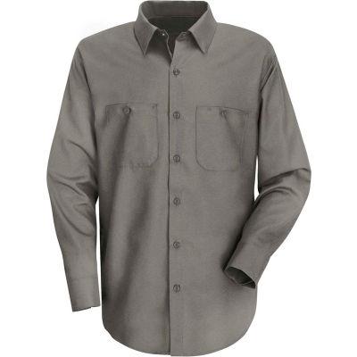 Red Kap® Men's Wrinkle-Resistant Cotton Work Shirt Long Sleeve Long-L Graphite Gray SC30