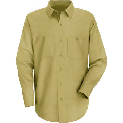 Red Kap® Men's Wrinkle-Resistant Cotton Work Shirt Long Sleeve Long-XL Khaki SC30-SC30KHLNXL