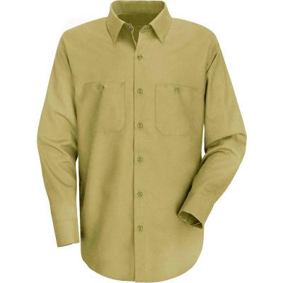 Red Kap® Men's Wrinkle-Resistant Cotton Work Shirt Long Sleeve Regular-L Khaki SC30-SC30KHRGL