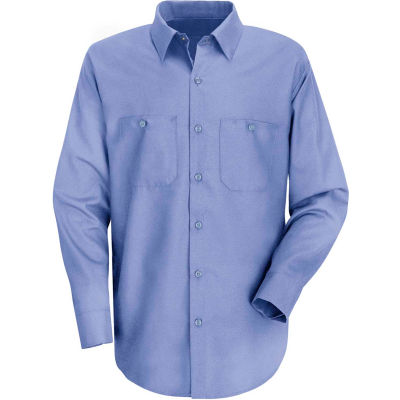 Red Kap® Men's Wrinkle-Resistant Cotton Work Shirt Long Sleeve Regular-5XL Light Blue SC30