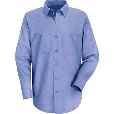 Red Kap® Men's Wrinkle-Resistant Cotton Work Shirt Long Sleeve Extra Long-2XL Light Blue SC30