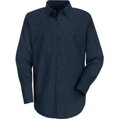 Red Kap® Men's Wrinkle-Resistant Cotton Work Shirt Long Sleeve Extra Long-3XL Navy SC30
