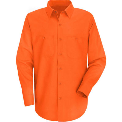 Red Kap® Men's Wrinkle-Resistant Cotton Work Shirt Long Sleeve Regular-S Orange SC30