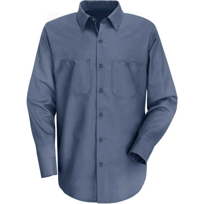 Red Kap® Men's Wrinkle-Resistant Cotton Work Shirt Long Sleeve Long-4XL Postman Blue SC30