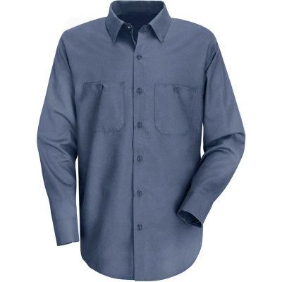 Red Kap® Men's Wrinkle-Resistant Cotton Work Shirt Long Sleeve Long-M Postman Blue SC30-SC30PBL