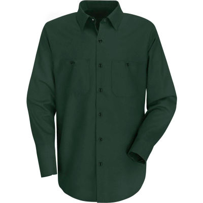 Red Kap® Men's Wrinkle-Resistant Cotton Work Shirt Long Sleeve Regular-L Spruce Green SC30