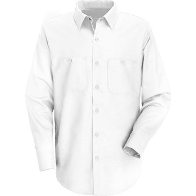 Red Kap® Men's Wrinkle-Resistant Cotton Work Shirt Long Sleeve Regular-S White SC30-SC30WHRGS