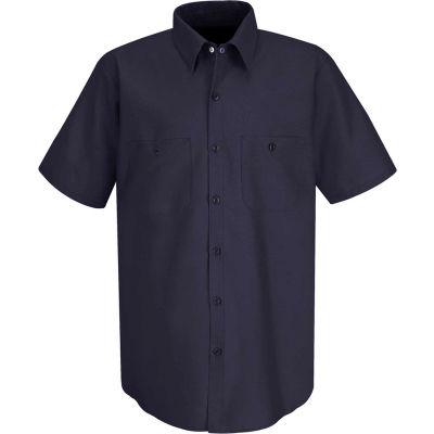 Red Kap® Men's Wrinkle-Resistant Cotton Work Shirt Short Sleeve S Dark Navy SC40-SC40DNSSS