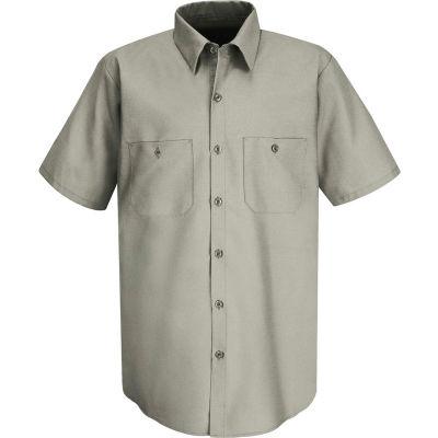 Red Kap® Men's Wrinkle-Resistant Cotton Work Shirt Short Sleeve Long-3XL Graphite Gray SC40