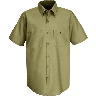 Red Kap® Men's Wrinkle-Resistant Cotton Work Shirt Short Sleeve M Khaki SC40-SC40KHSSM