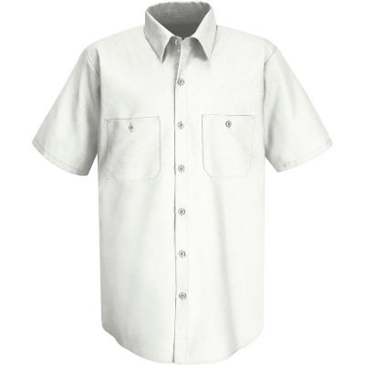 Red Kap® Men's Wrinkle-Resistant Cotton Work Shirt Short Sleeve 3XL White SC40-SC40WHSS3XL