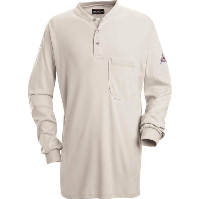 EXCEL FR® Flame Resistant Long Sleeve Tagless Henley Shirt SEL2, Gray, Size L Long