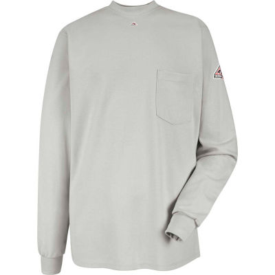 EXCEL FR® Flame Resistant Long Sleeve Tagless T-Shirt SET2, Gray, Size L Regular