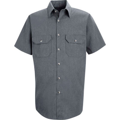 Red Kap® Men's Heathered Poplin Uniform Shirt Short Sleeve Navy M SH20-SH20NVSSM