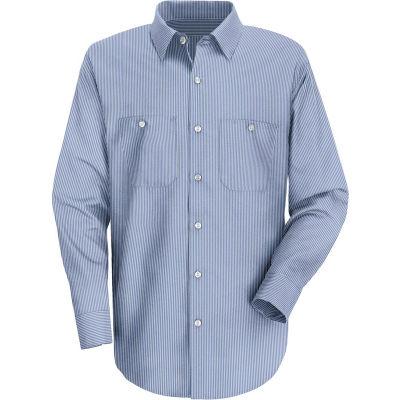 Red Kap® Men's Industrial Stripe Work Shirt Long Sleeve Blue/White Stripe Regular-2XL SL10