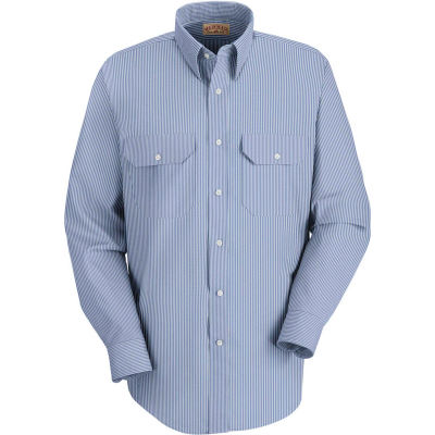 Red Kap® Men's Deluxe Uniform Shirt White/Blue Pin Stripe Long-XL SL50-SL50WBLNXL