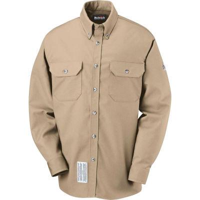 EXCEL FR® ComforTouch® FR Dress Uniform Shirt SLU2, Khaki, Size XL Regular