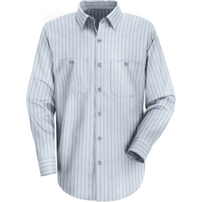 Red Kap® Men's Industrial Stripe Work Shirt Long Sleeve Light Blue/Navy Stripe Long-2XL SP10