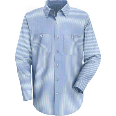 Red Kap® Men's Industrial Stripe Work Shirt Long Sleeve GM Blue/White Stripe Long-M SP10