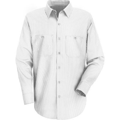 Red Kap® Men's Industrial Stripe Work Shirt Long Sleeve White/Charcoal Stripe Long-L SP10