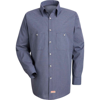 Red Kap® Men's Micro-Check Uniform Shirt Long Sleeve Blue/Charcoal Check Regular-2XL SP10