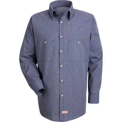 Red Kap® Men's Micro-Check Uniform Shirt Long Sleeve Blue/Charcoal Check Extra Long-XL SP10