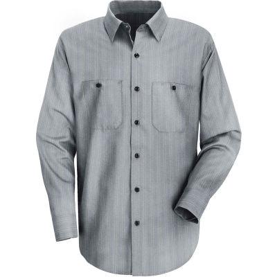 Red Kap® Men's Industrial Stripe Work Shirt Long Sleeve Charcoal Blue/White Stripe Long-XL SP10
