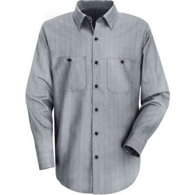 Red Kap® Men's Industrial Stripe Work Shirt Long Sleeve Charcoal Blue/White Stripe Reg-XL SP10