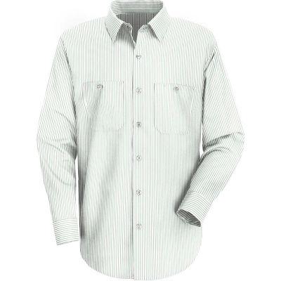 Red Kap® Men's Industrial Stripe Work Shirt Long Sleeve White/Green Stripe Regular-XL SP10