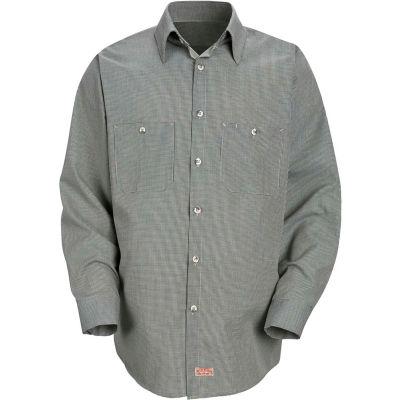 Red Kap® Men's Micro-Check Uniform Shirt Long Sleeve Hunter/Khaki  Check Long-L SP10