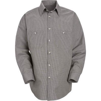 Red Kap® Men's Micro-Check Uniform Shirt Long Sleeve Khaki/Black Check Regular-2XL SP10